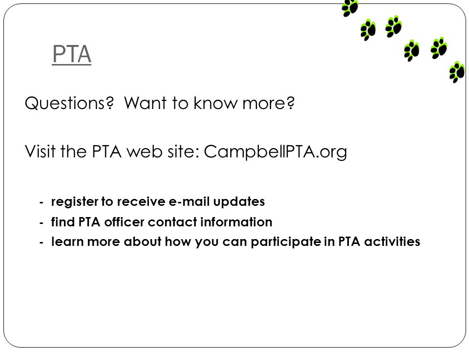 PTA Questions. Want to know more.