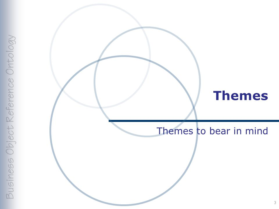 Themes Themes to bear in mind 3