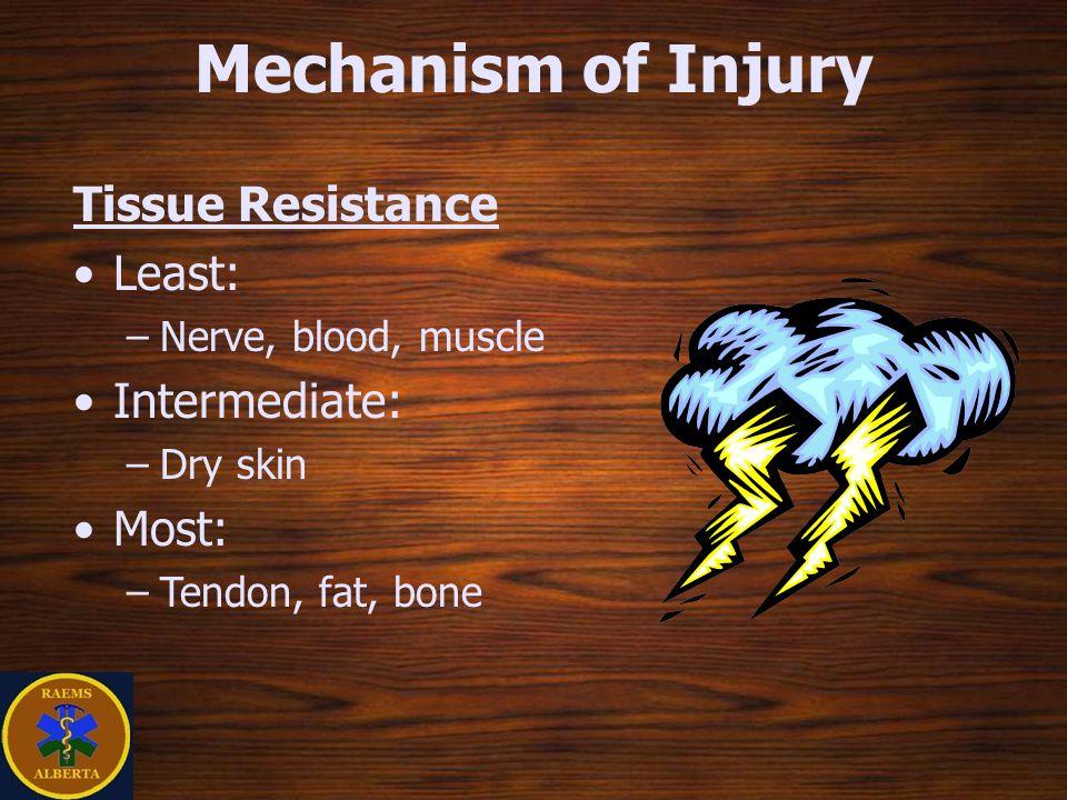 Mechanism of Injury Tissue Resistance Least: –Nerve, blood, muscle Intermediate: –Dry skin Most: –Tendon, fat, bone