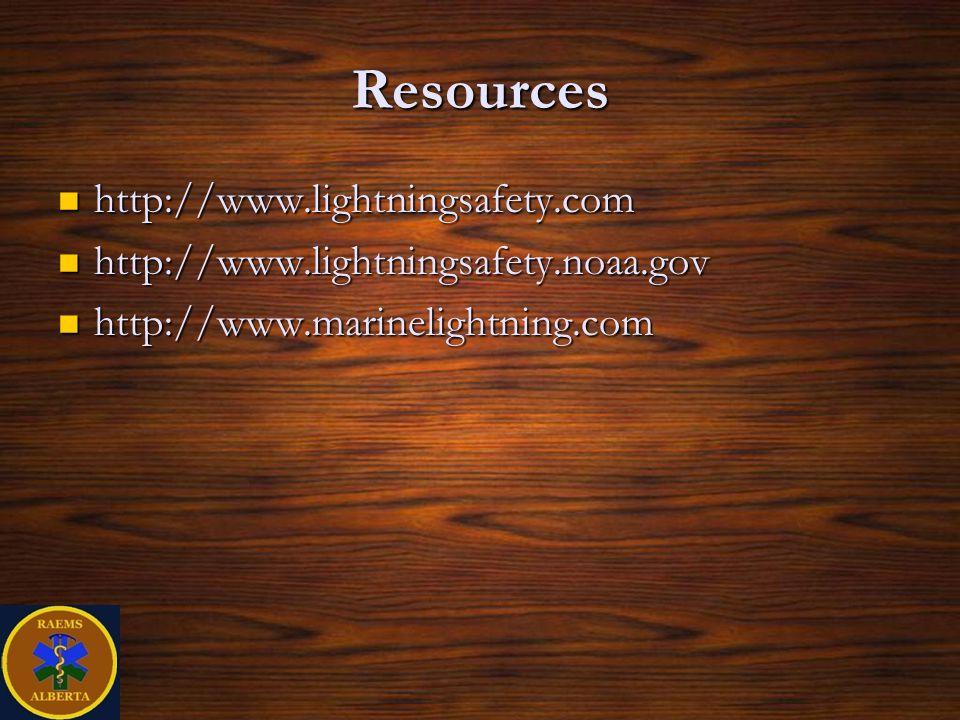Resources http://www.lightningsafety.com http://www.lightningsafety.com http://www.lightningsafety.noaa.gov http://www.lightningsafety.noaa.gov http://www.marinelightning.com http://www.marinelightning.com