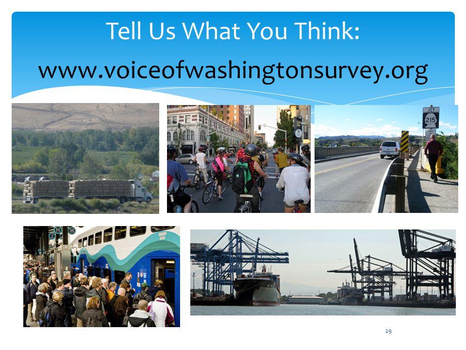 Tell Us What You Think: www.voiceofwashingtonsurvey.org 29