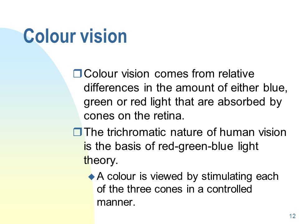 11 Sensitivity of cones Relative sensitivity Wavelength Blue cone Green cone Red cone