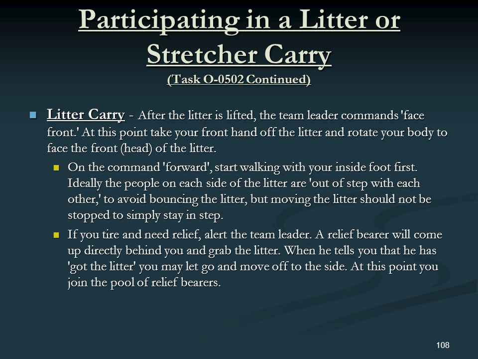 Participating in a Litter or Stretcher Carry (Task O-0502 Continued) Litter Carry - After the litter is lifted, the team leader commands 'face front.'