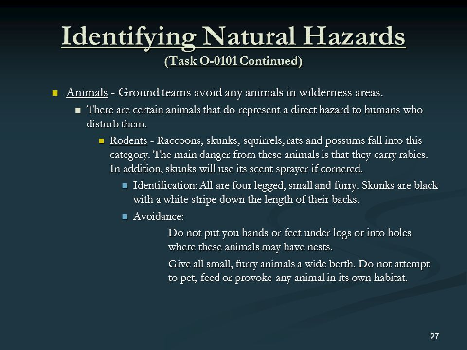 Identifying Natural Hazards (Task O-0101 Continued) Animals - Ground teams avoid any animals in wilderness areas. Animals - Ground teams avoid any ani