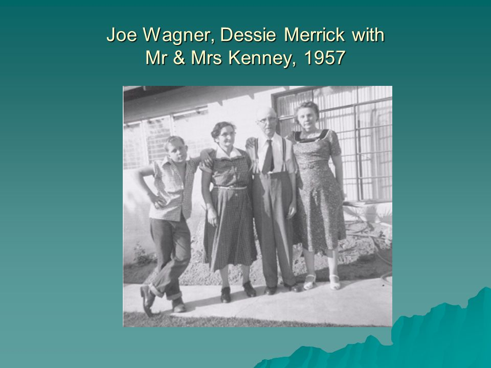 Joe Wagner, Dessie Merrick with Mr & Mrs Kenney, 1957