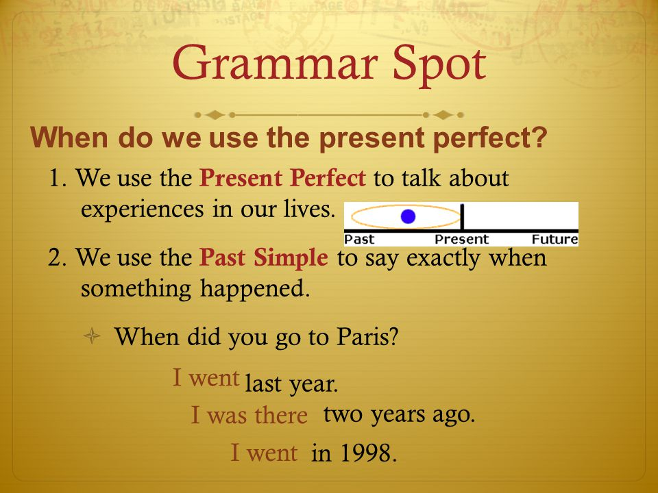 Grammar Spot 1. We use the Present Perfect to talk about experiences in our lives.
