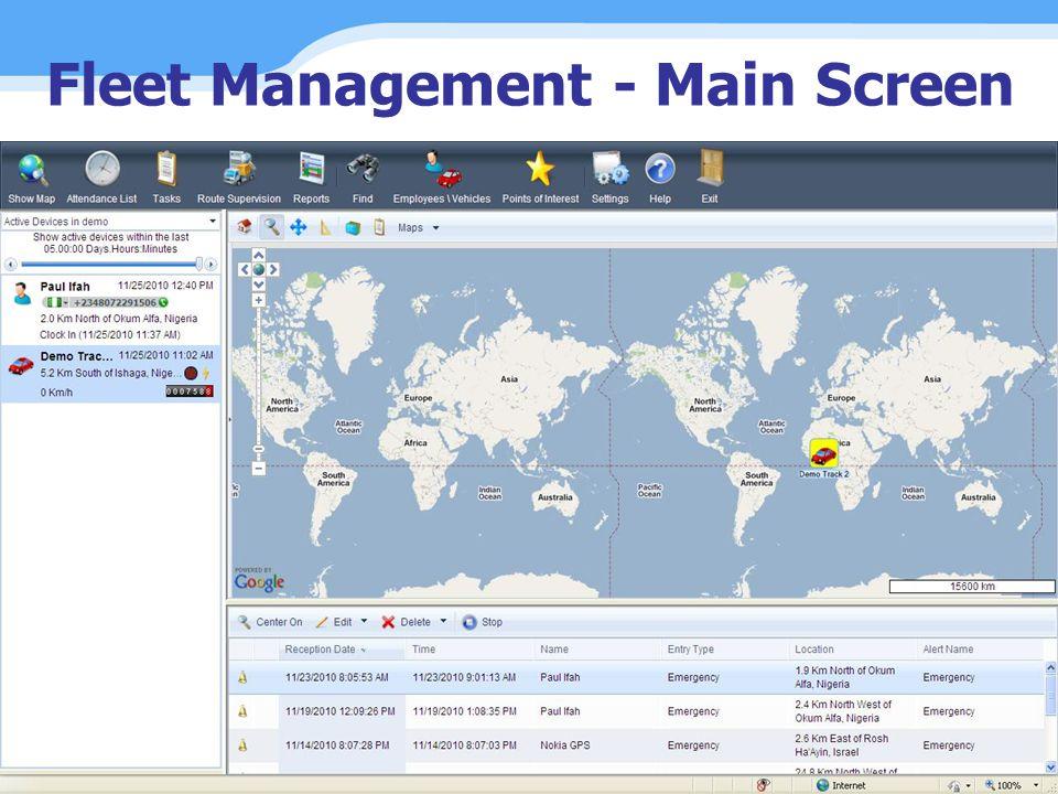 Fleet Management - Main Screen