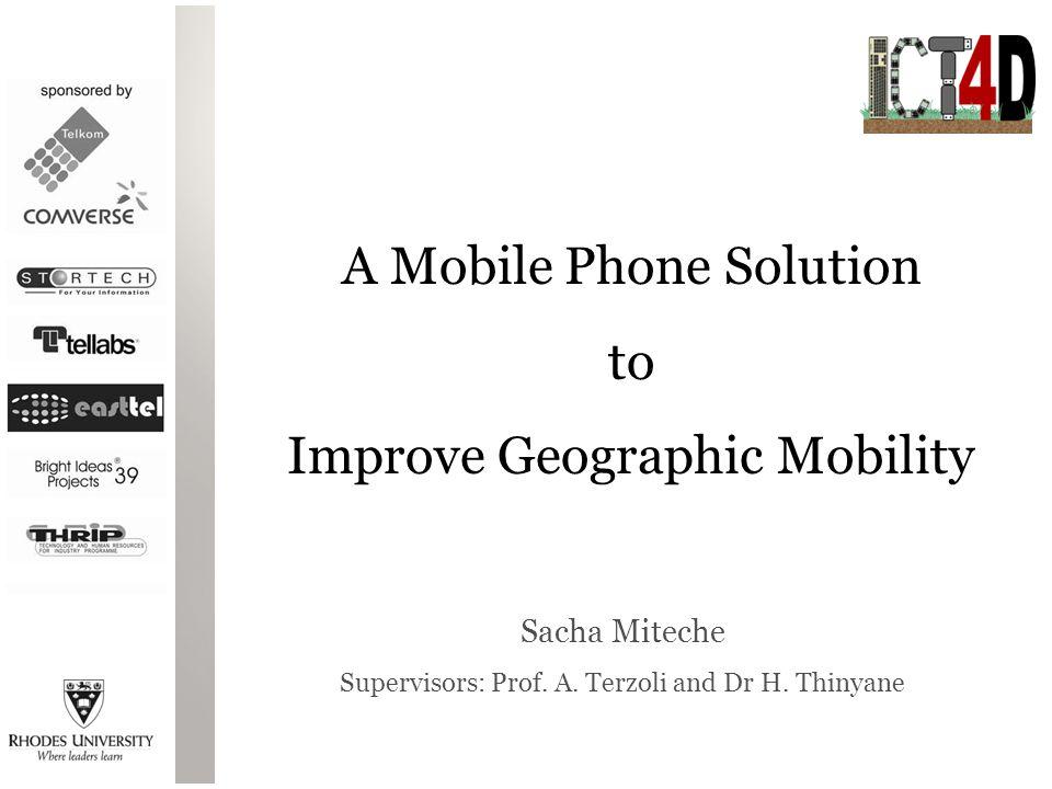 Sacha Miteche Supervisors: Prof. A. Terzoli and Dr H.