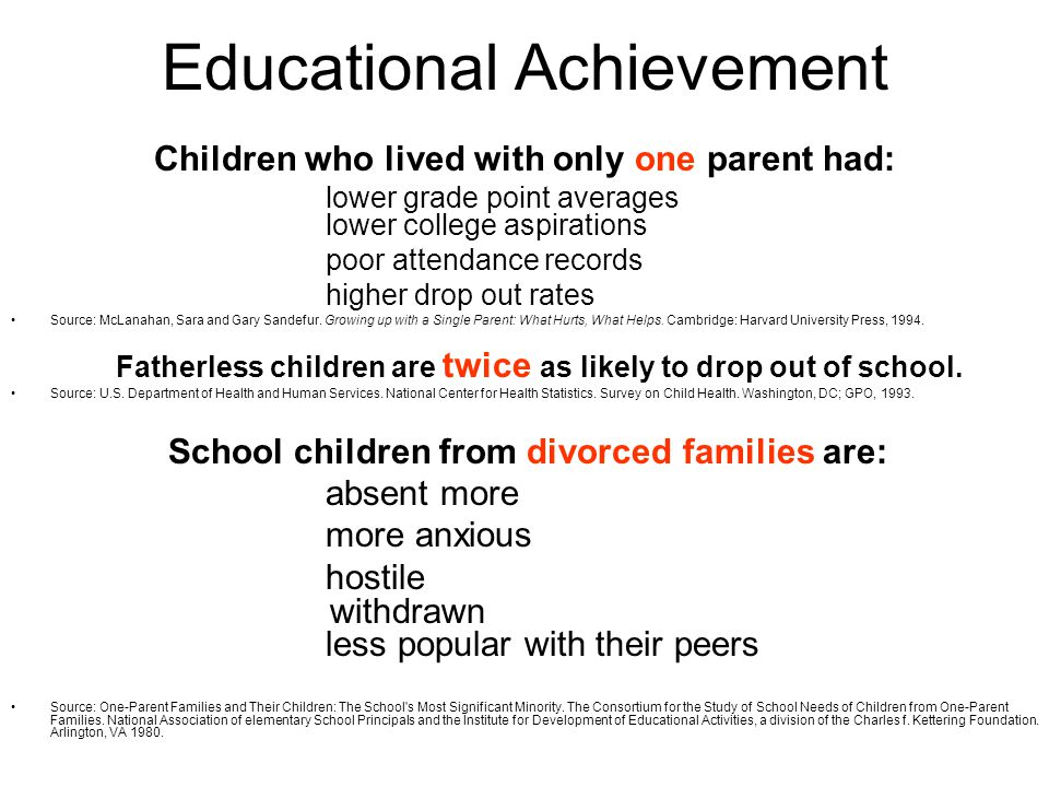 Educational Achievement Children who lived with only one parent had: lower grade point averages lower college aspirations poor attendance records higher drop out rates Source: McLanahan, Sara and Gary Sandefur.