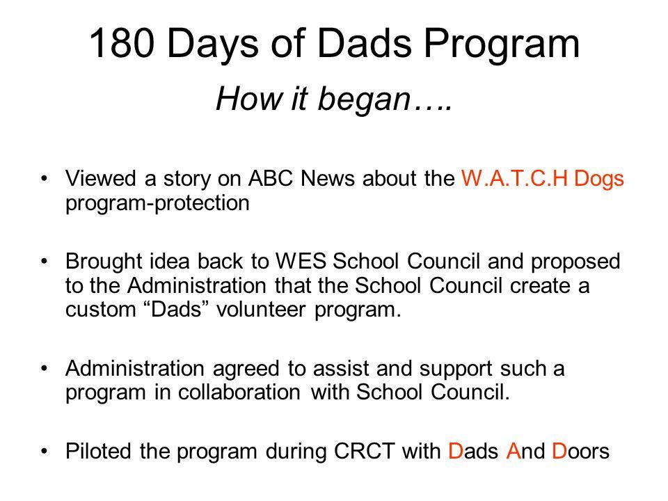 180 Days of Dads Program How it began….