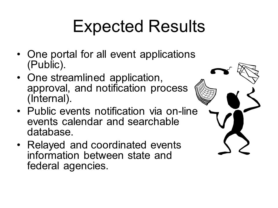 Expected Results One portal for all event applications (Public).