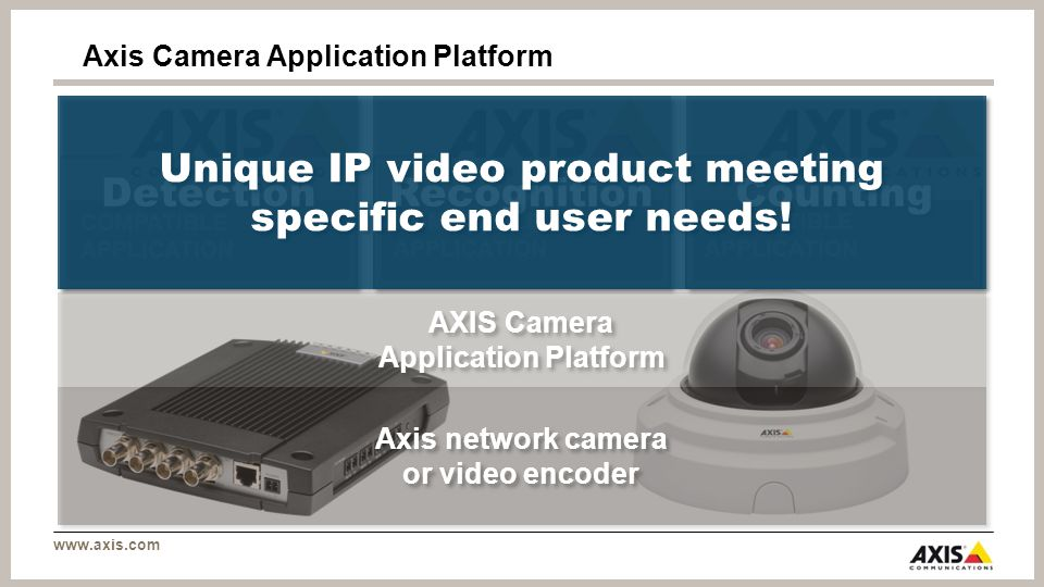 www.axis.com Axis Camera Application Platform COMPATIBLE APPLICATION Axis network camera or video encoder AXIS Camera Application Platform COMPATIBLE APPLICATION Detection Counting Recognition Unique IP video product meeting specific end user needs!