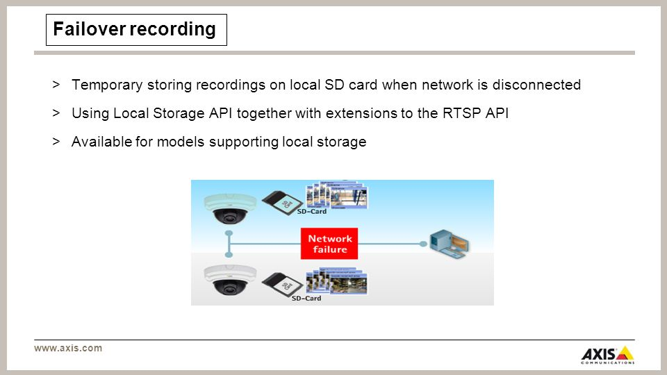 www.axis.com Failover recording >Temporary storing recordings on local SD card when network is disconnected >Using Local Storage API together with extensions to the RTSP API >Available for models supporting local storage