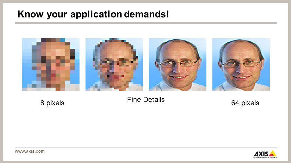 www.axis.com Fine Details 8 pixels64 pixels Know your application demands!