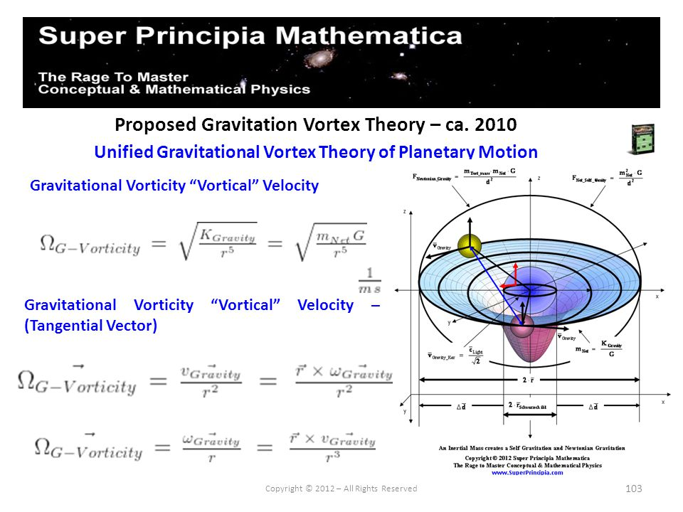 103 Proposed Gravitation Vortex Theory – ca. 2010 Unified Gravitational Vortex Theory of Planetary Motion Copyright © 2012 – All Rights Reserved Gravi