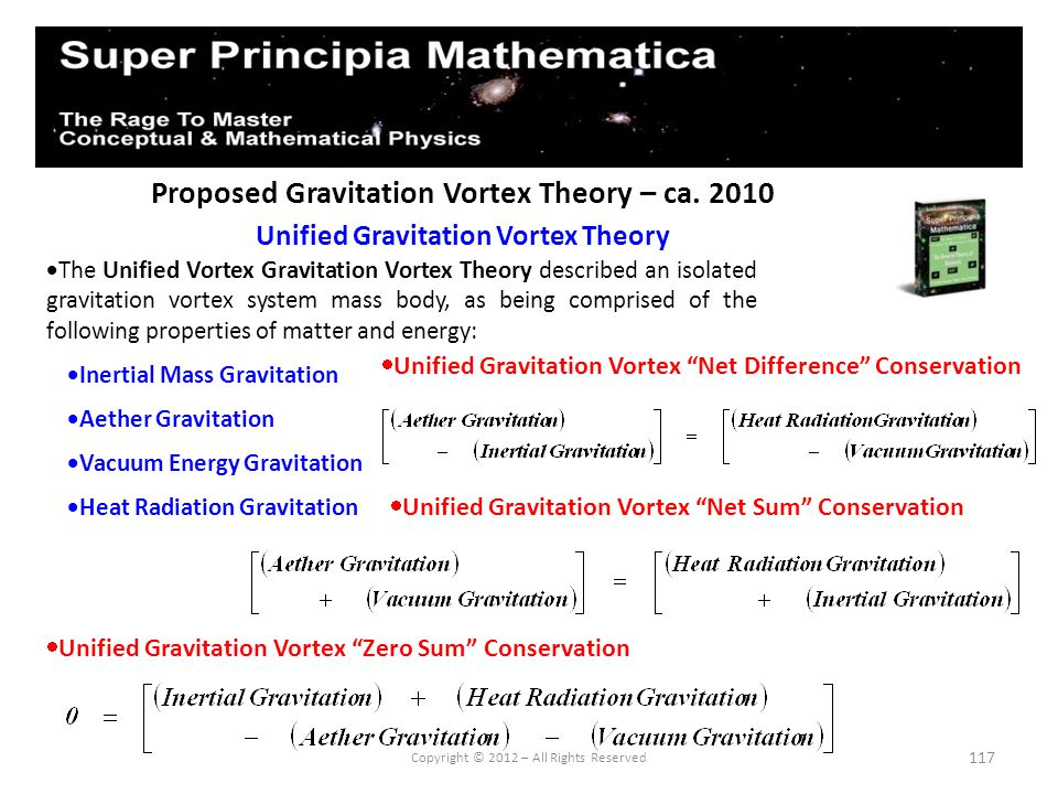 117 Proposed Gravitation Vortex Theory – ca. 2010 Unified Gravitation Vortex Theory Copyright © 2012 – All Rights Reserved The Unified Vortex Gravitat
