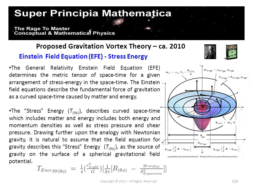 130 Proposed Gravitation Vortex Theory – ca. 2010 Einstein Field Equation (EFE) - Stress Energy Copyright © 2012 – All Rights Reserved The General Rel