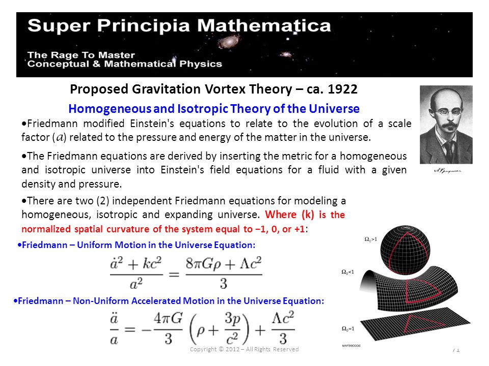 71 Proposed Gravitation Vortex Theory – ca. 1922 Homogeneous and Isotropic Theory of the Universe Copyright © 2012 – All Rights Reserved Friedmann mod