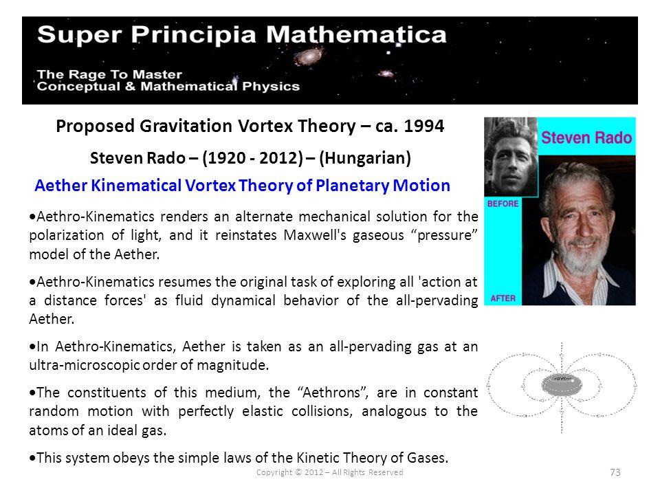 73 Proposed Gravitation Vortex Theory – ca. 1994 Steven Rado – (1920 - 2012) – (Hungarian) Aether Kinematical Vortex Theory of Planetary Motion Copyri