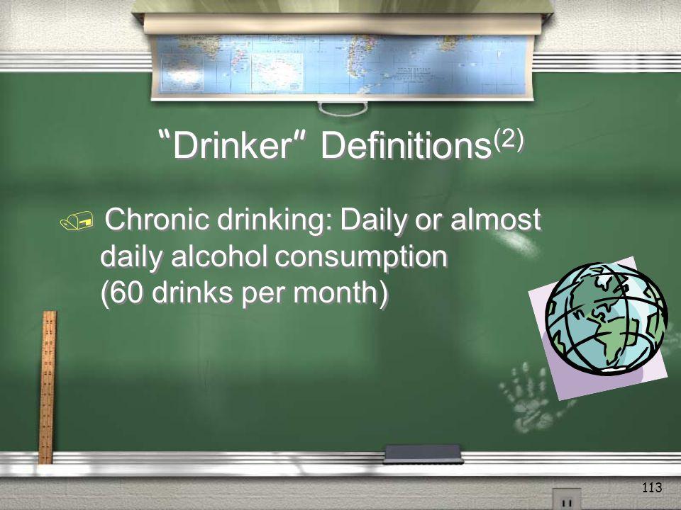 Drinker Definitions (1) / Binge drinking: Four or more drinks for a female and five or more drinks for a male at one sitting / Binge drinking: Four or more drinks for a female and five or more drinks for a male at one sitting 112