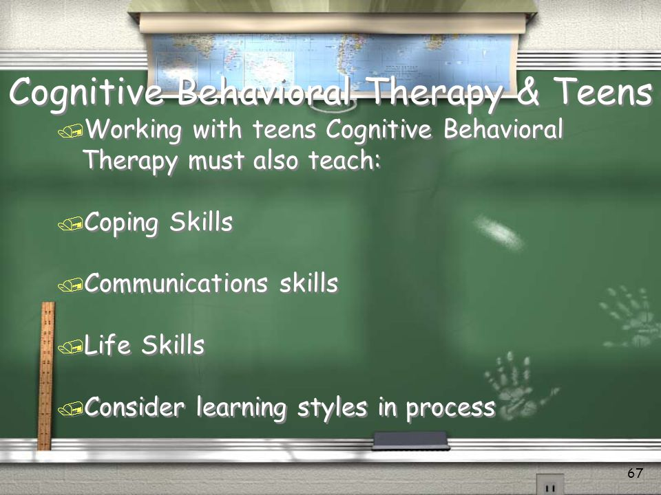 Cognitive Behavioral Therapy for Co-Occurring Disorder Adolescents / Use verbal aids, mapping, illustrations, be visual / Practice role preparation and rehearse for unexpected situations / Provide specific feedback on techniques / Use outlines for sessions with learning objective / Test for knowledge understanding / Make use of memory enhancement aids, notes tapes, repeat if needed / Repeat information and ask what they remember from last group.