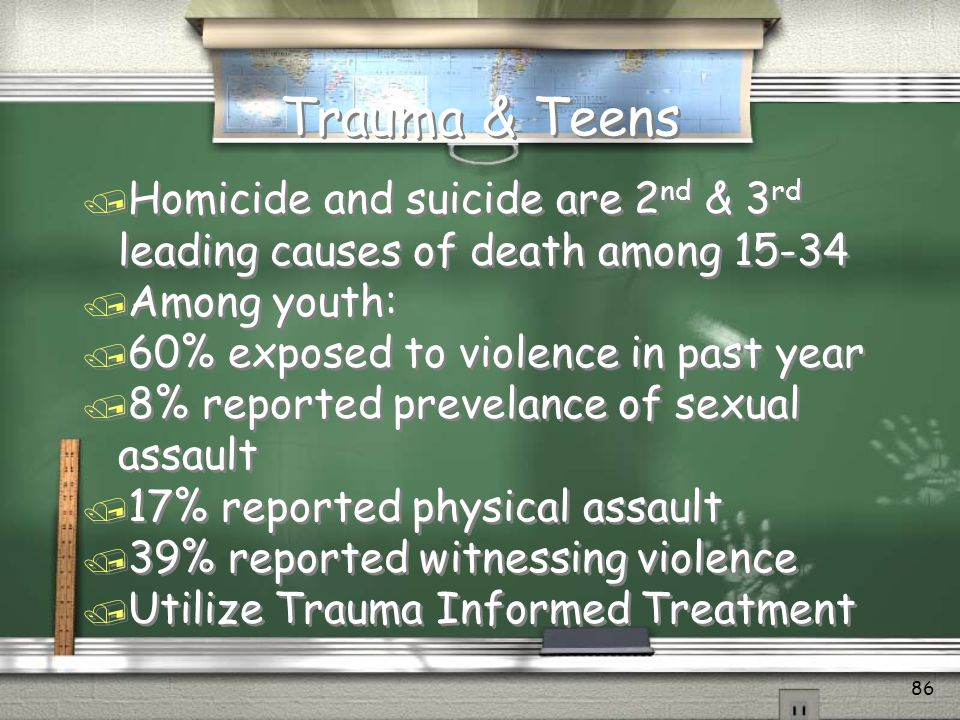 85 Suicide: Certain populations are at higher risk Suicide rates among those with ADDICTION are 5-10 times higher than for those without addiction….