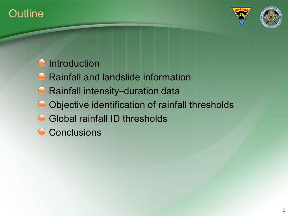 Outline Introduction Rainfall and landslide information Rainfall intensity–duration data Objective identification of rainfall thresholds Global rainfa