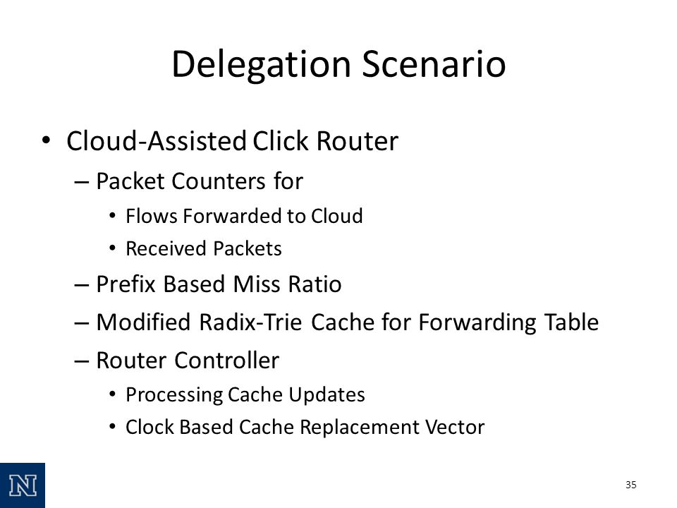 Delegation Scenario Cloud-Assisted Click Router – Packet Counters for Flows Forwarded to Cloud Received Packets – Prefix Based Miss Ratio – Modified Radix-Trie Cache for Forwarding Table – Router Controller Processing Cache Updates Clock Based Cache Replacement Vector 35