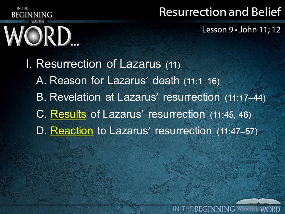 I. Resurrection of Lazarus (11) A. Reason for Lazarus death (11:1–16) B.
