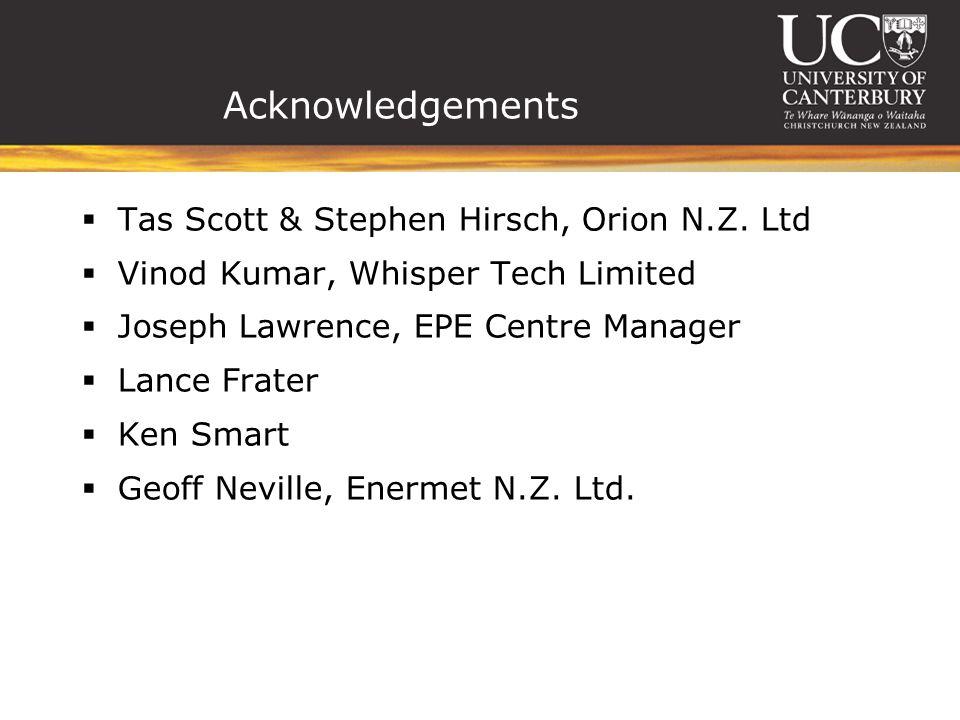 Acknowledgements Tas Scott & Stephen Hirsch, Orion N.Z.