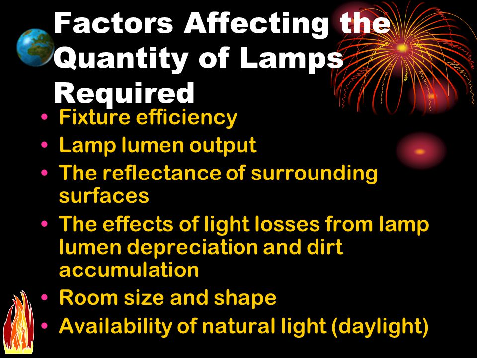 Factors Affecting the Quantity of Lamps Required Fixture efficiency Lamp lumen output The reflectance of surrounding surfaces The effects of light los