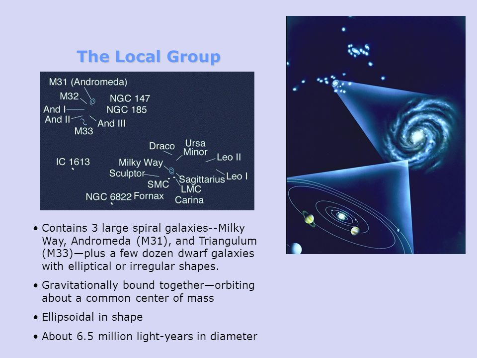 The Local Group Contains 3 large spiral galaxies--Milky Way, Andromeda (M31), and Triangulum (M33)plus a few dozen dwarf galaxies with elliptical or irregular shapes.