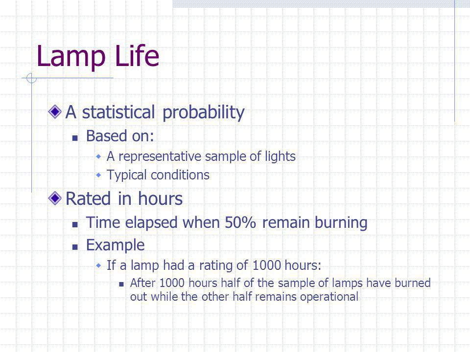 Lamp Life A statistical probability Based on: A representative sample of lights Typical conditions Rated in hours Time elapsed when 50% remain burning Example If a lamp had a rating of 1000 hours: After 1000 hours half of the sample of lamps have burned out while the other half remains operational