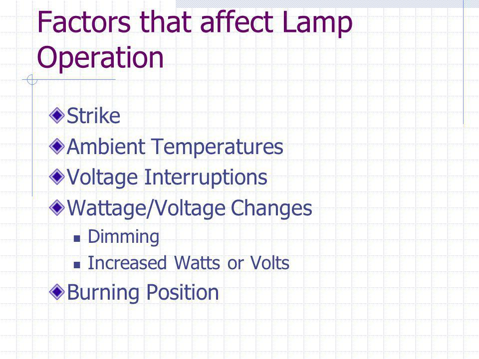 Incandescent Components Tungsten filament Acts as a resistor In parallel changes amps by impedance inductive reactance and conductor resistance Glass Globe w/ inert gasses Argon or krypton w/ small amounts of nitrogen Add bromine or iodine with a quartz covering – Tungsten Halogen lamp Lamp base