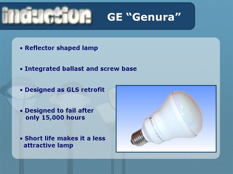 GE Genura Reflector shaped lamp Integrated ballast and screw base Designed as GLS retrofit Designed to fail after only 15,000 hours Short life makes it a less attractive lamp