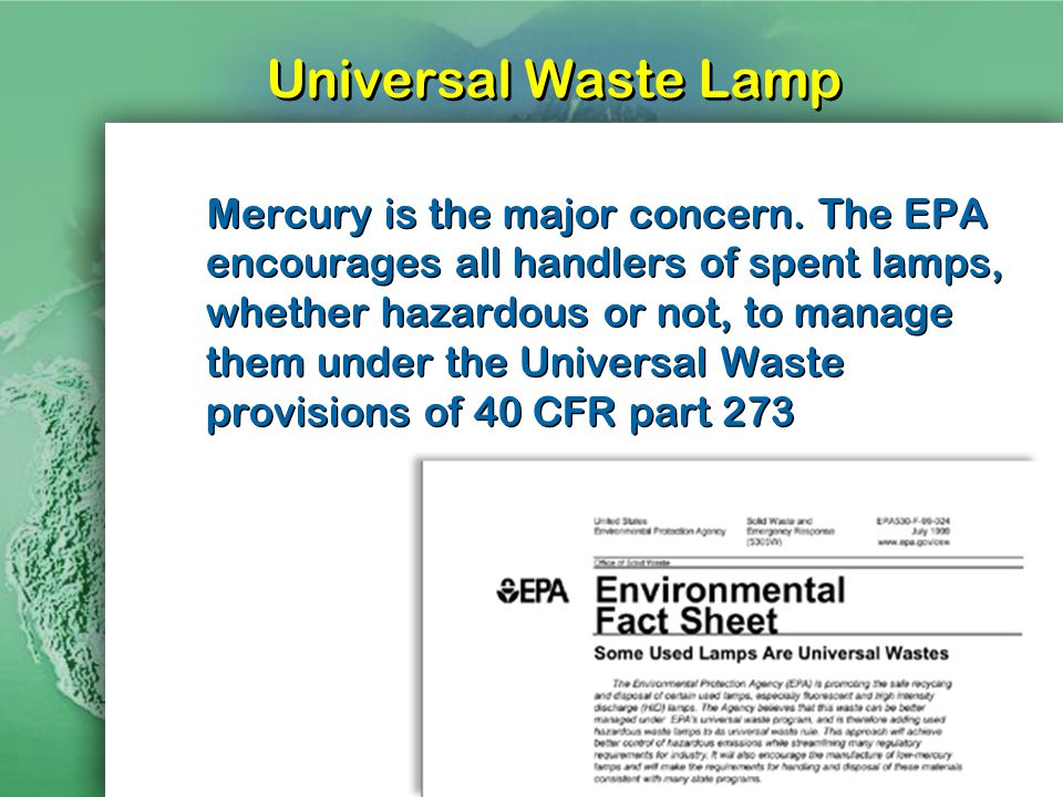 Universal Waste Lamp Mercury is the major concern.