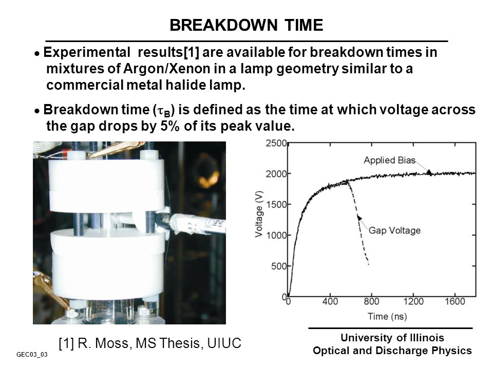 University of Illinois Optical and Discharge Physics BREAKDOWN TIME Experimental results[1] are available for breakdown times in mixtures of Argon/Xen