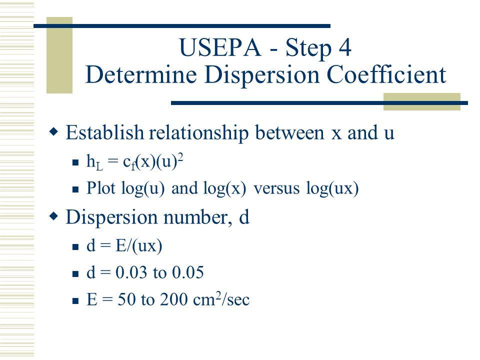 USEPA - Step 4 Determine Dispersion Coefficient Establish relationship between x and u h L = c f (x)(u) 2 Plot log(u) and log(x) versus log(ux) Disper