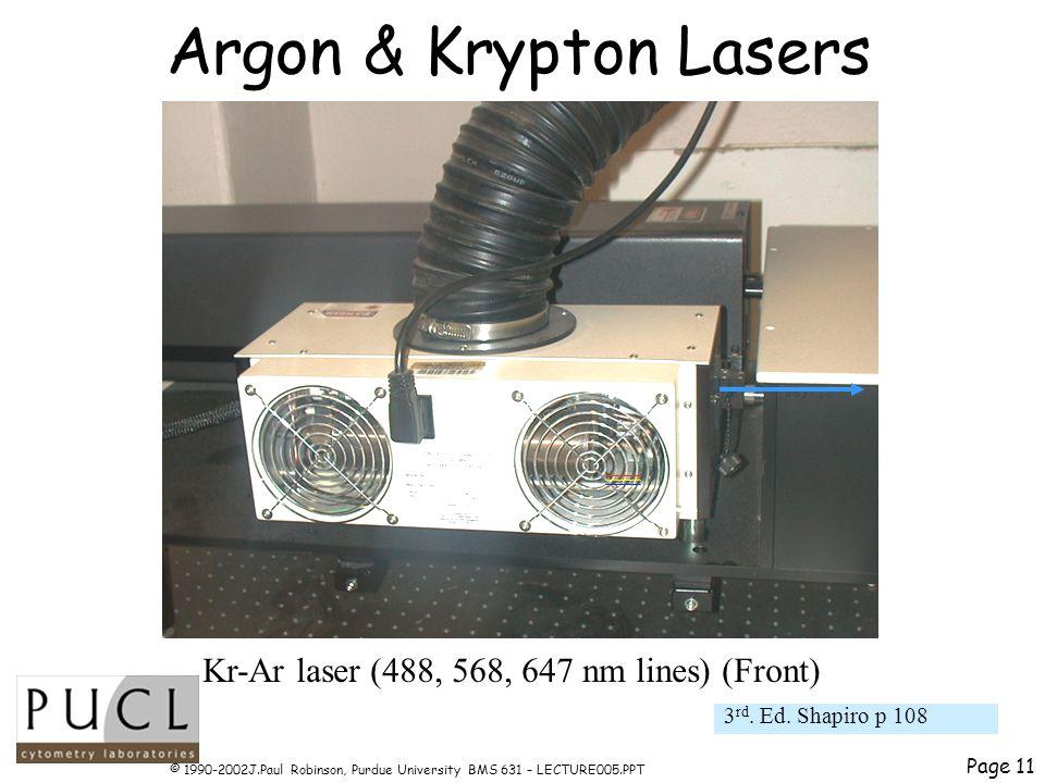 Page 11 © 1990-2002J.Paul Robinson, Purdue University BMS 631 – LECTURE005.PPT Argon & Krypton Lasers 3 rd.