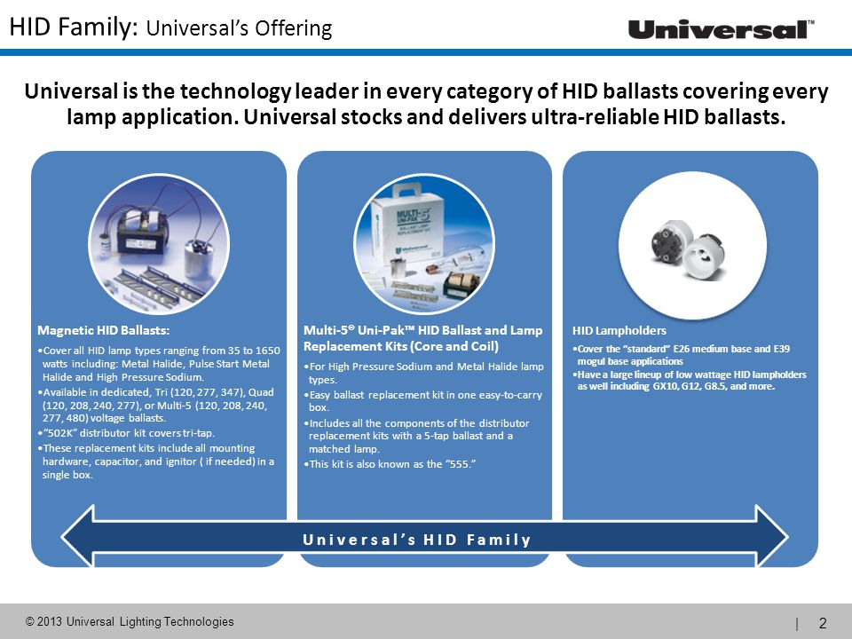 | 2 © 2013 Universal Lighting Technologies HID Family: Universals Offering Magnetic HID Ballasts: Cover all HID lamp types ranging from 35 to 1650 wat