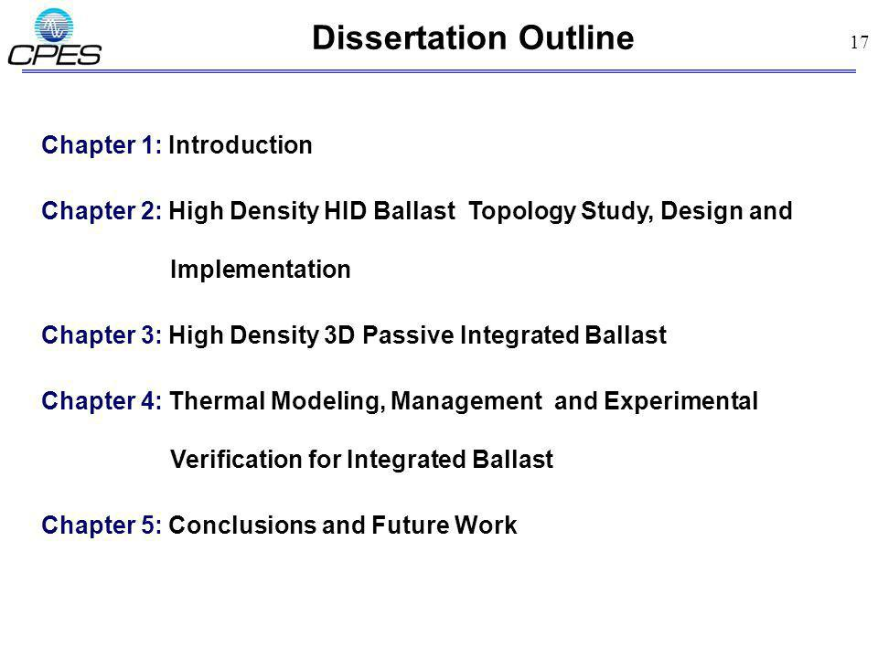 17 Dissertation Outline Chapter 1: Introduction Chapter 2: High Density HID Ballast Topology Study, Design and Implementation Chapter 3: High Density