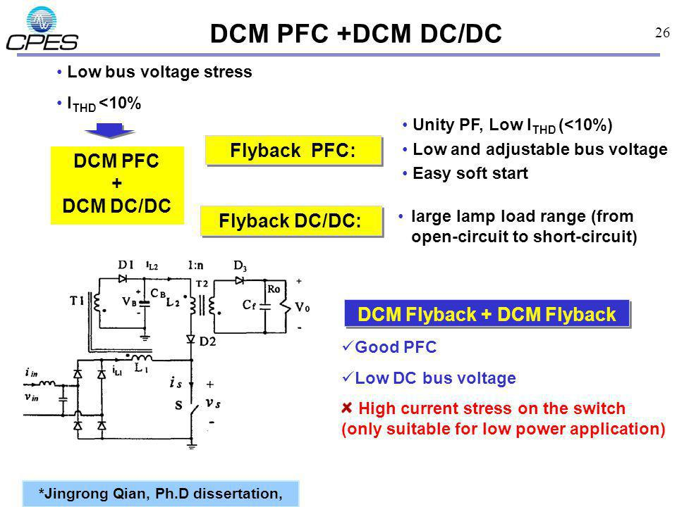 26 DCM PFC +DCM DC/DC *Jingrong Qian, Ph.D dissertation, Good PFC Low DC bus voltage High current stress on the switch (only suitable for low power application) DCM Flyback + DCM Flyback Flyback PFC: DCM PFC + DCM DC/DC Low bus voltage stress l THD <10% Unity PF, Low I THD (<10%) Low and adjustable bus voltage Easy soft start Flyback DC/DC: large lamp load range (from open-circuit to short-circuit)