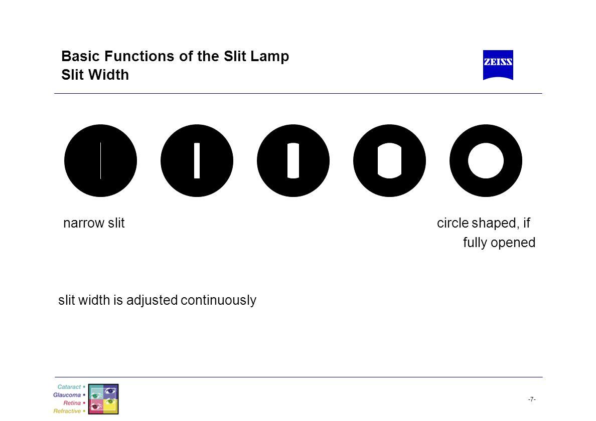 -8- Basic Functions of the Slit Lamp Slit Length short slit long slit slit length is adjusted in steps and continuously