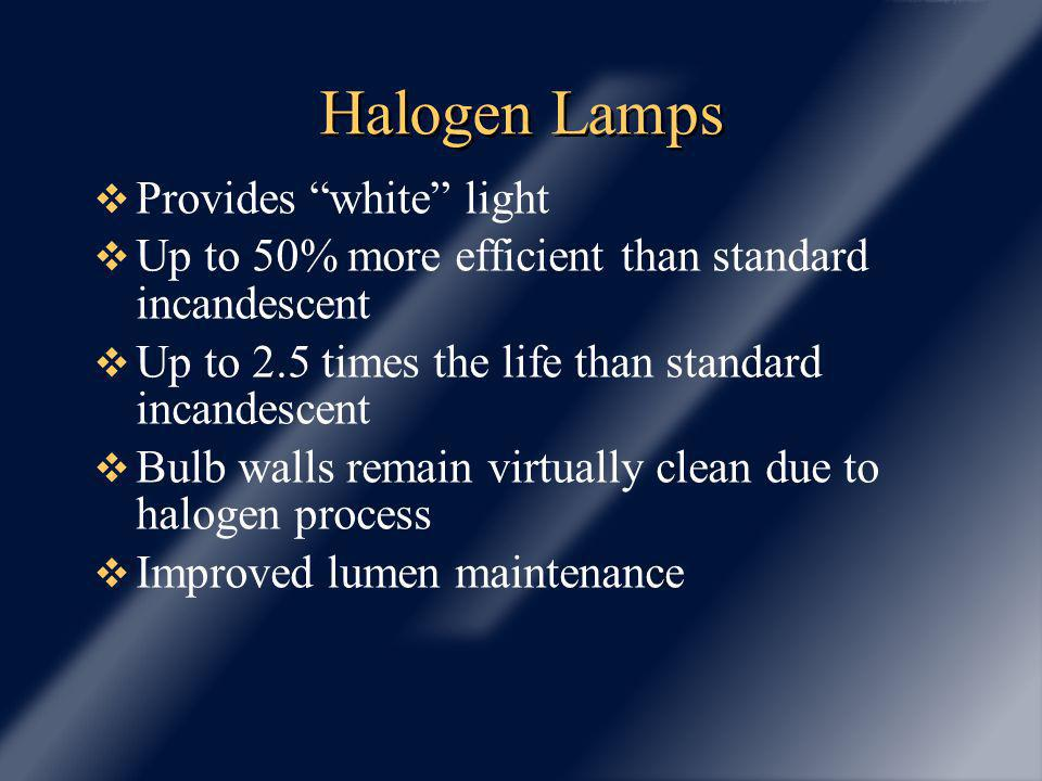 Halogen Lamps Provides white light Up to 50% more efficient than standard incandescent Up to 2.5 times the life than standard incandescent Bulb walls remain virtually clean due to halogen process Improved lumen maintenance