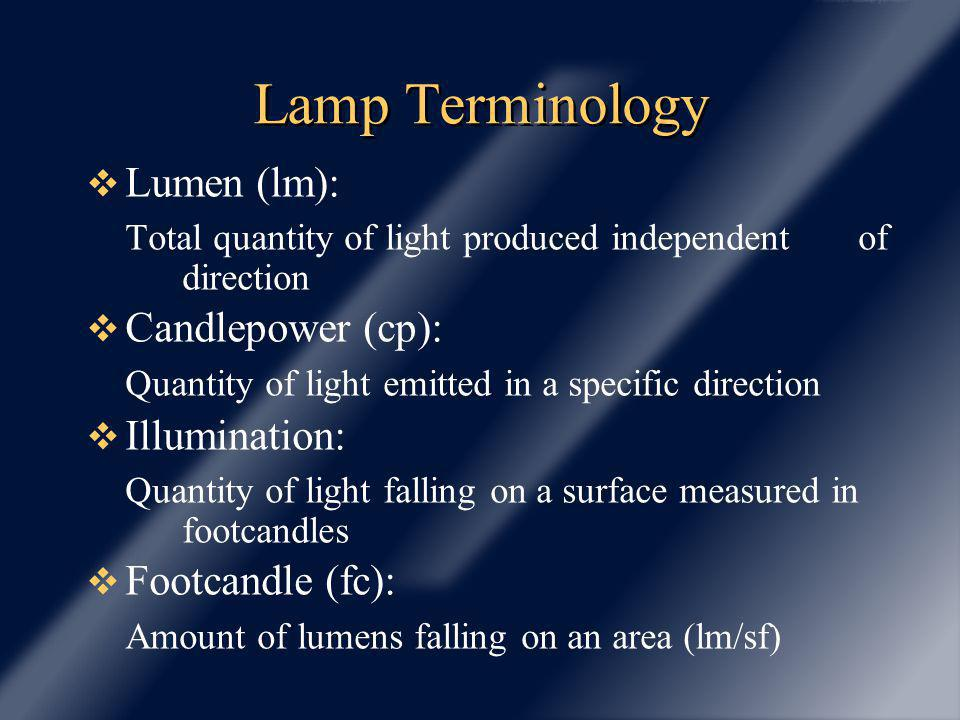 Lamp Terminology Lumen (lm): Total quantity of light produced independent of direction Candlepower (cp): Quantity of light emitted in a specific direc