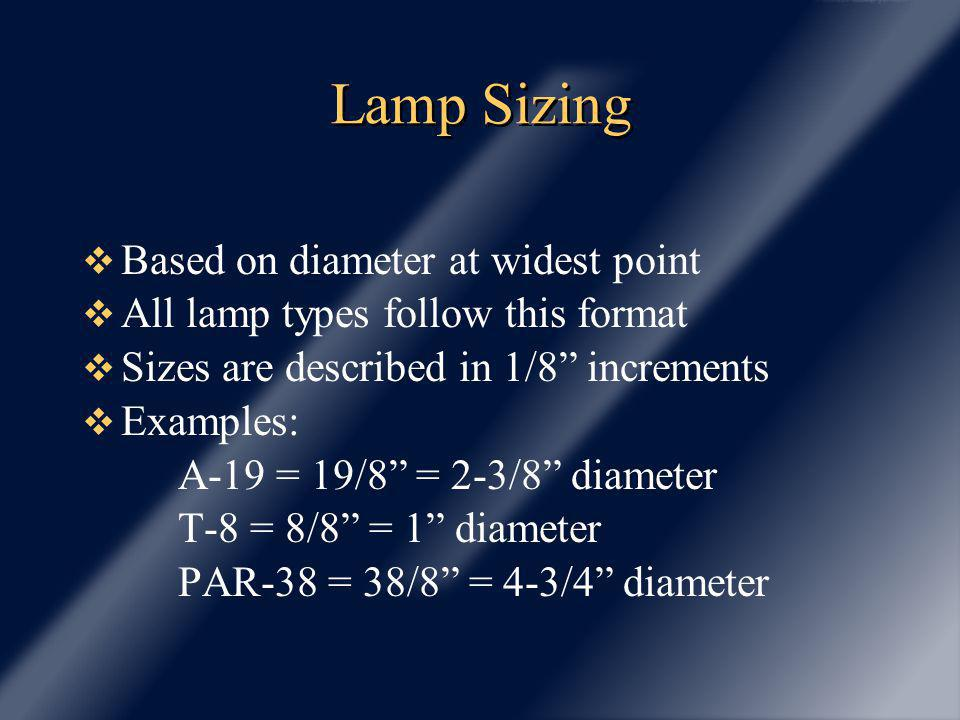 Lamp Sizing Based on diameter at widest point All lamp types follow this format Sizes are described in 1/8 increments Examples: A-19 = 19/8 = 2-3/8 di