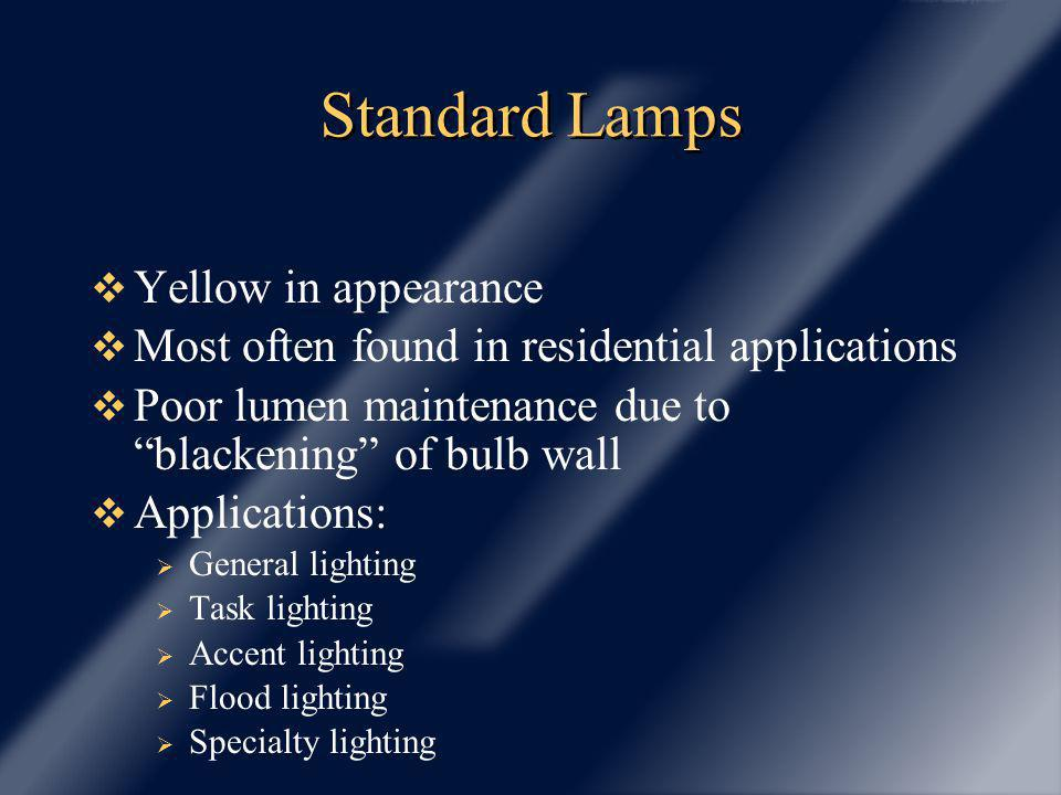 Low Pressure Sodium (LPS) Lamps Lamp gases are under low pressure Highest efficacy of any light source: up to 183 LPW Monochromatic yellow light All objects appear gray Application Security Areas where high efficacy required and color rendition not a concern