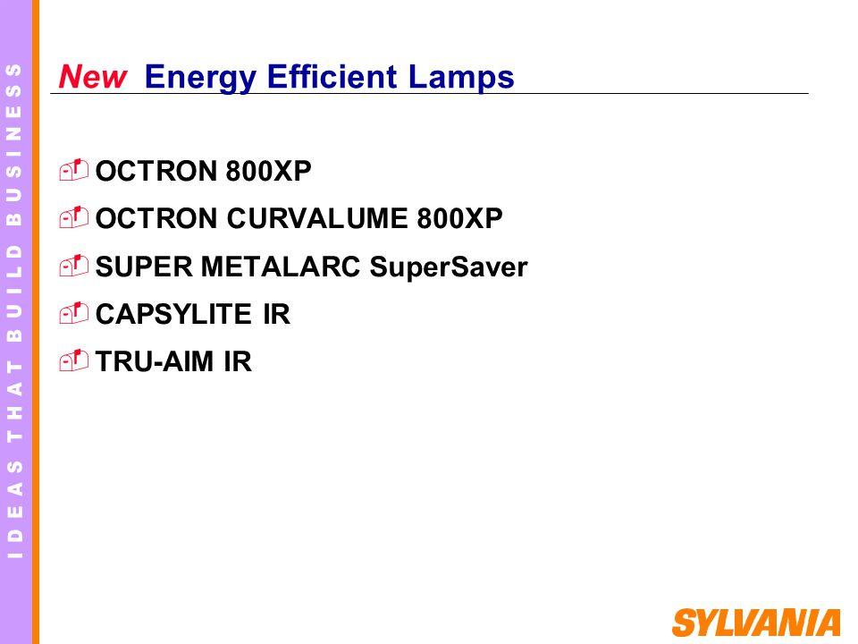 New Energy Efficient Lamps OCTRON 800XP OCTRON CURVALUME 800XP SUPER METALARC SuperSaver CAPSYLITE IR TRU-AIM IR