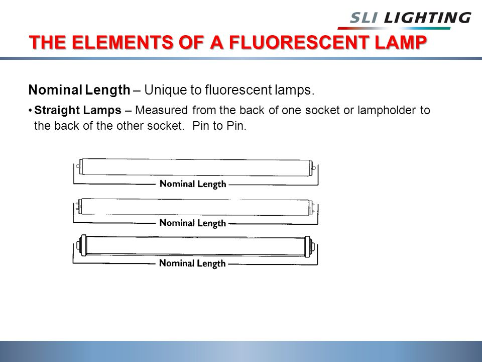 THE ELEMENTS OF A FLUORESCENT LAMP Nominal Length – Unique to fluorescent lamps.