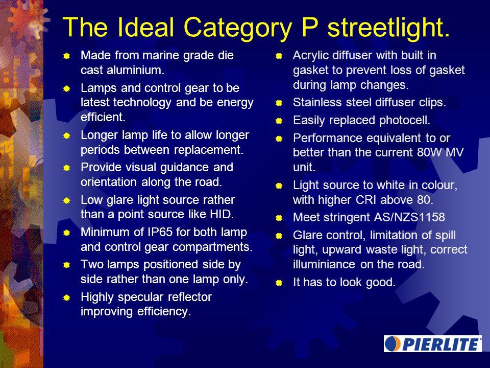 The Ideal Category P streetlight. Made from marine grade die cast aluminium.